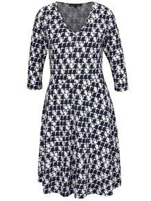 Tmavomodré vzorované šaty s 3/4 rukávom Smashed Lemon