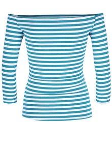 Tyrkysové pruhované tričko s lodičkovým výstřihem Dolly & Dotty Gloria