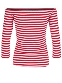 Červené pruhované tričko s lodičkovým výstřihem Dolly & Dotty Gloria