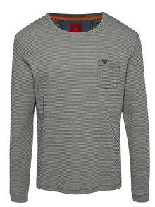 Krémovo-modré pánské pruhované slim fit triko s.Oliver