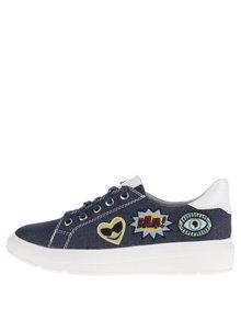 Pantofi sport albaștri Tamaris cu aspect denim și aplicații