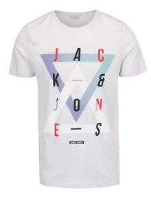 Tricou gri deschis Jack & Jones din bumbac cu print