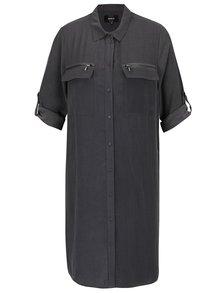 Tmavě šedé košilové šaty s 3/4 rukávem ONLY Kaia Avery