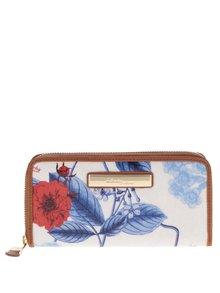 Krémová květovaná peněženka s koženými detaily Liberty by Gionni Anais