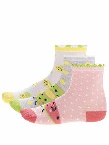 Súprava troch párov sivo-ružových dievčenských ponožiek s motívom ovocia 5.10.15.