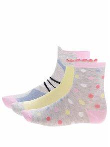 Sada tří párů holčičích ponožek v šedé barvě s puntíky a králíčkem 5.10.15.