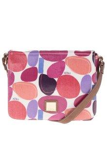 Krémová crossbody kabelka s barevným potiskem a koženými detaily Liberty by Gionni Paulina