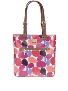 Krémová kabelka s farebnou potlačou a koženými detailmi Liberty by Gionni Paulina