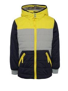 Šedo-modro-žlutá klučičí bunda s kapucí 5.10.15.