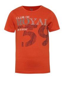 Oranžové chlapčenské tričko s potlačou a okrúhlym výstrihom 5.10.15.