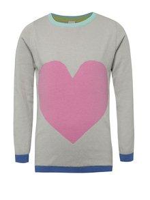 Ružovo-sivý dievčenský sveter s motívom srdca 5.10.15.