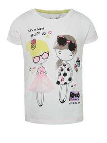 Bílé holčičí tričko s potiskem a výšivkami 5.10.15.