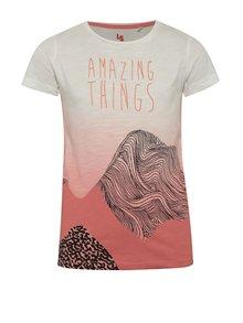 Krémovo-růžové holčičí tričko s potiskem 5.10.15.