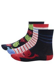 Sada tří párů vzorovaných klučičích ponožek v červené a modré barvě 5.10.15.