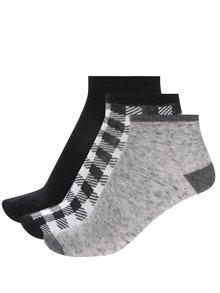Sada tří párů klučičích kotníkových ponožek v šedo-černé barvě 5.10.15.