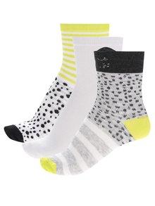Súprava troch párov dievčenských vzorovaných ponožiek čierno-zeleno-bielej farbe 5.10.15.
