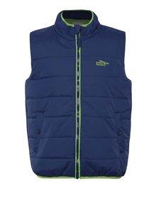 Modrá chlapčenská prešívaná vesta so zeleným zipsom 5.10.15.