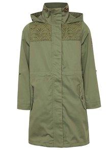 Jachetă lungă kaki 5.10.15. din bumbac cu detalii pentru fete