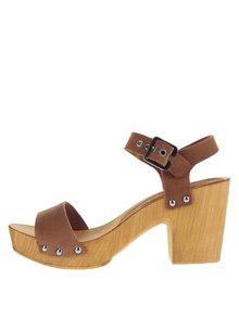 Hnědé kožené sandálky na širokém podpatku VERO MODA Sima