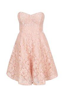 Růžové krajkové šaty s odepínatelnými ramínky TALLY WEiJL