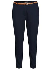 Tmavě modré chino kalhoty s páskem VERO MODA Roos