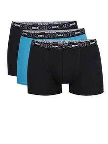 Set de 3 boxeri albastru & negru DIM cu logo