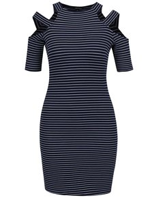 Modré pruhované šaty s průstřihy na ramenou TALLY WEiJL