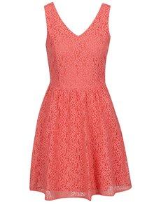 Růžové krajkové šaty s knoflíky na zádech VERO MODA Sasha