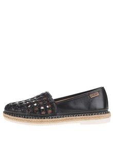 Čierne perforované kožené loafers Pikolinos Cadamunt