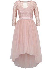 Svetloružové šaty s čipkovaným topom Chi Chi London Sierra