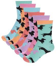 Súprava šiestich farebných dámskych ponožiek so vzorom jazevčíkov Oddsocks Hotdogs
