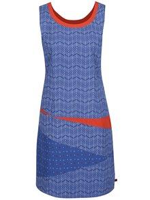 Rochie albastră Tranquillo Bente din bumbac organic cu model și detalii portocalii