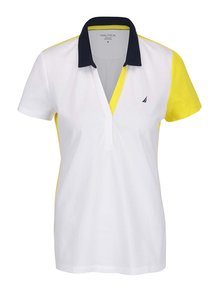 Tricou polo alb & galben Nautica din bumbac cu logo