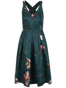 Tmavě zelené květované šaty bez rukávů Dorothy Perkins