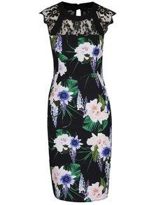 Čierne kvetované šaty s čipkovanými detailmi Dorothy Perkins