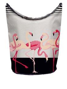 Coș de rufe crem Butter Kings cu print cu Flamingo