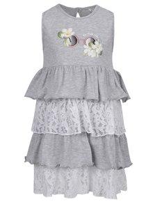Sivé dievčenské šaty s čipkou a volánmi North Pole Kids