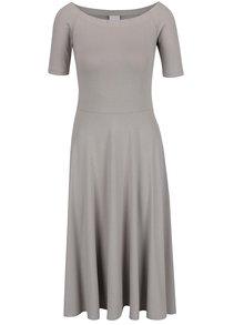Sivé šaty s lodičkovým výstrihom VILA Saskia