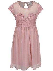 Rochie roz pudrat VILA Maker cu dantelă