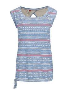Krémovo-modré dámské vzorované tričko bez rukávů Ragwear Mike