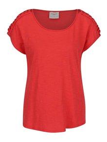 Červené tričko se vzory na ramenou VERO MODA Braida