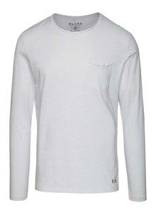 Bluză subțire albă Blend din jerseu cu buzunar pe piept