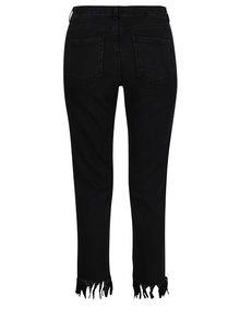Černé zkrácené skinny džíny s třásněmi Miss Selfridge