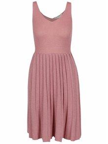 Starorůžové pletené šaty s plisovanou sukní Miss Selfridge