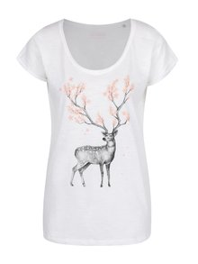 Tricou alb de damă ZOOT Original Blossoming deer