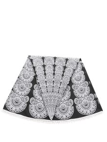 Bielo-čierna vzorovaná okrúhla šatka Pieces Landua