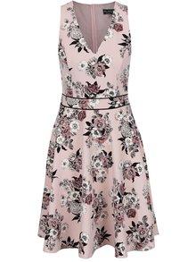 Ružové kvetované šaty s véčkovým výstrihom Miss Selfridge