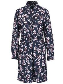 Tmavomodré košeľové šaty s kvetovaným vzorom Connection Eva
