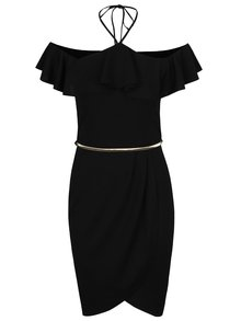 Čierne šaty s volánom a opaskom v zlatej farbe Miss Selfridge