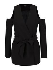 Černý kabát s průstřihy na ramenou Miss Selfridge